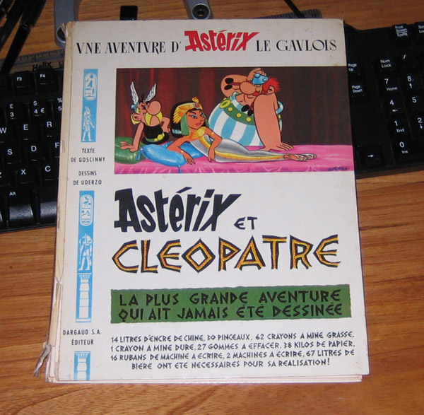 First edition of Astérix et Cléopatre (1965), picked up in a second hand book shop for 50p.