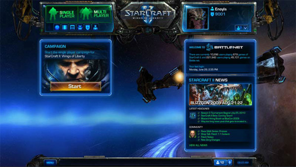 Starcraft II's main menu, with integrated Battle.net 2.0.