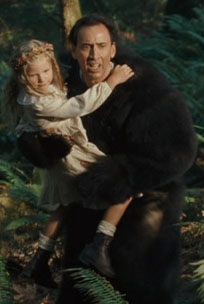 Cunningly disguised as a bear, Nicolas Cage rescues little Madeleine... I mean Rowan